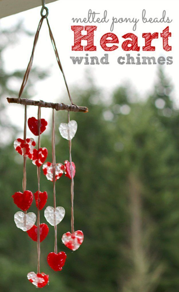 Valentines Day Gifts Melted Pony Bead Heart Wind Chimes Diy