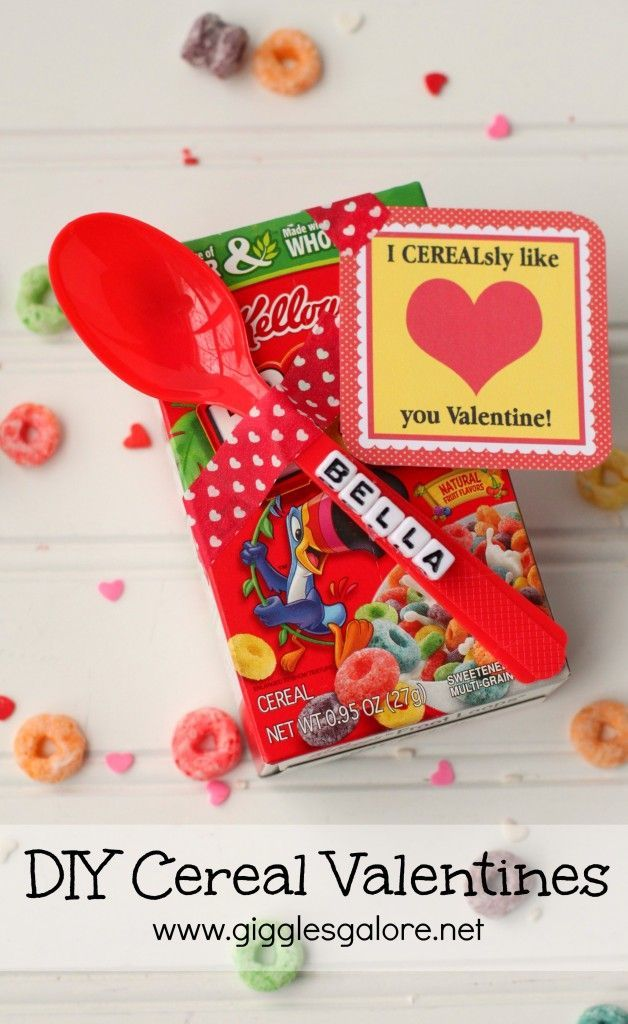 Valentines day gifts personalized diy cereal valentines for Cute valentines day gifts for men
