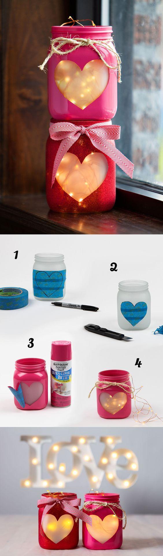 Photophores romantiques avec des pots de verre et une guirlande en led. 19 Déco...