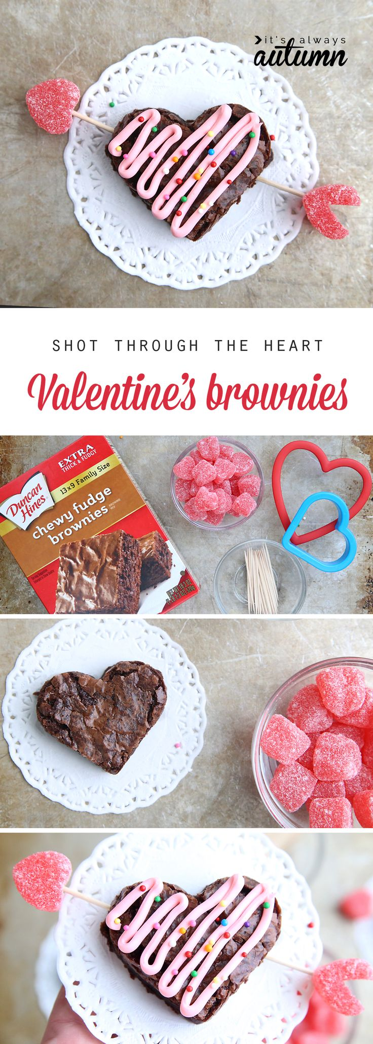 Such a cute Valentine's Day treat! Shot through the heart brownies. Easy Val...