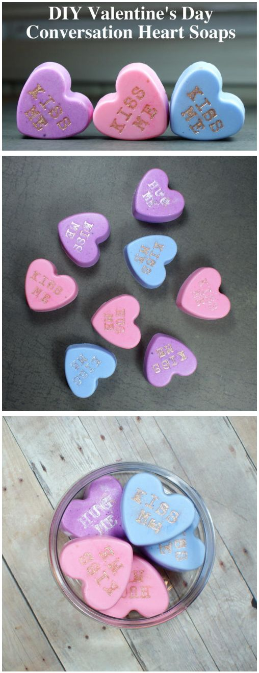 These DIYconversationheartsoaps are so easy to make and make lovely homema...