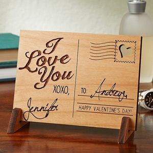 This is BEAUTIFUL! It's a Romantic Wood Postcard that you can have engraved ...
