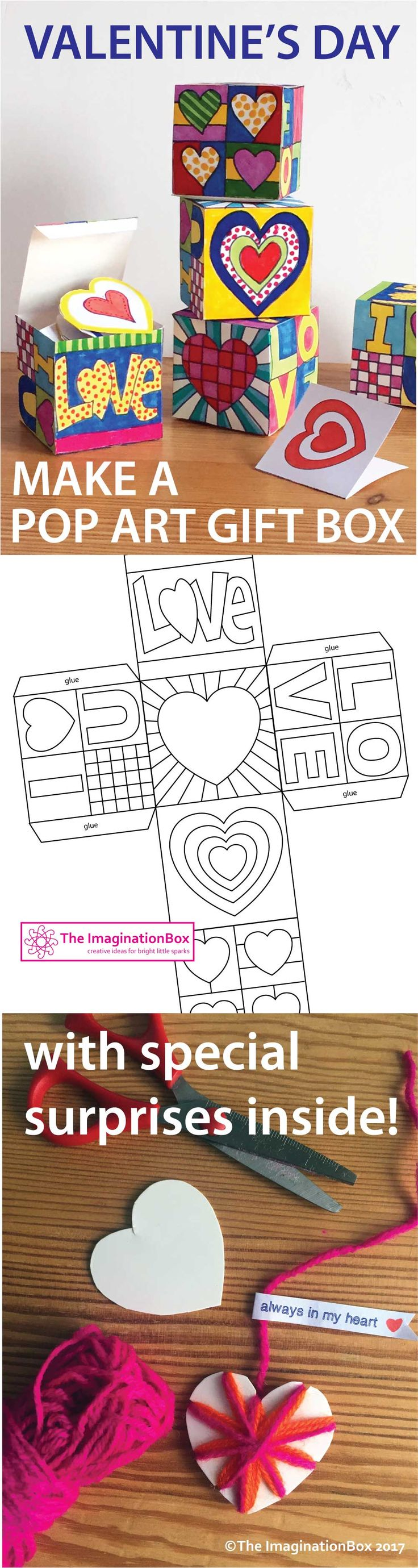 This Pop Art Hearts Doodle Gift Box is an ideal creative project for Valentine&#...