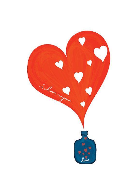 Une petite bouteille de LOVE - Art Print, cadeau de Saint Valentin, Pop Art, Wed...