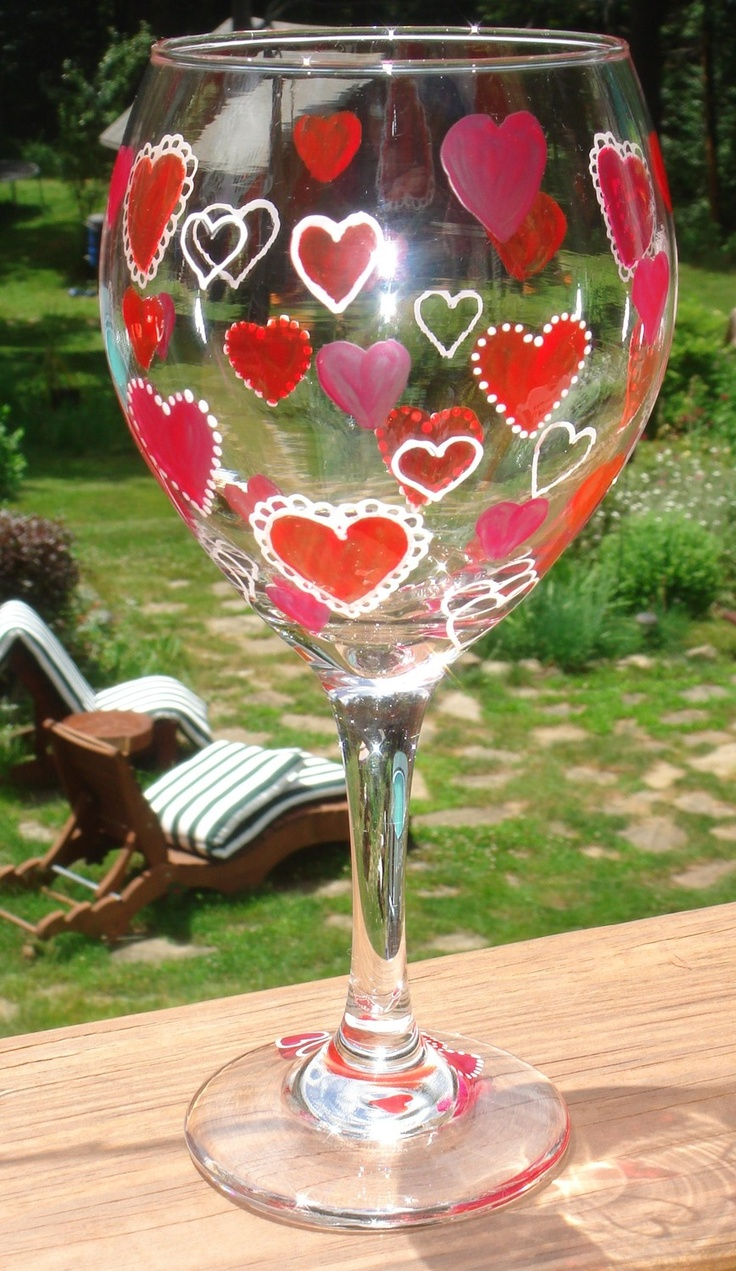 Valentines Day Gifts : Valentines Day Hearts Wine Glass Hand Painted ...