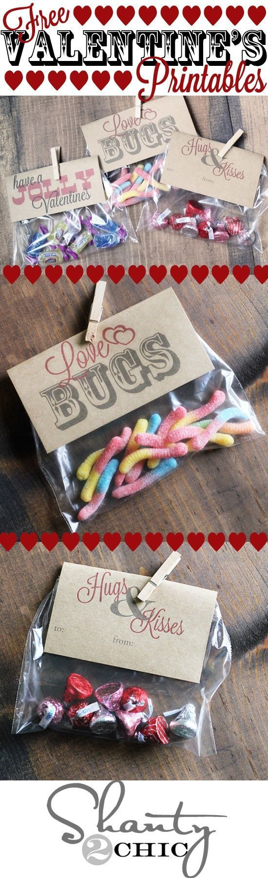 Valentine's Day party or gift treat topper free printables via Shanty2Chic- ...