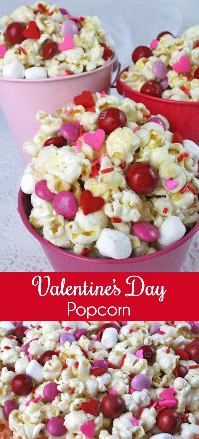 Valentines Day Popcorn - a fun Valentines Day treat. Sweet, salty, crunchy and d...