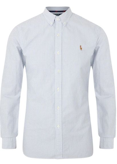 Blue and white cotton Oxford shirt