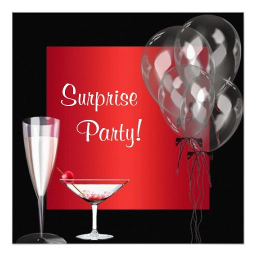 birthday gifts cocktail balloons red surprise birthday party announcements