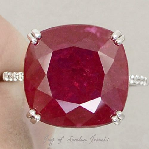 Birthday Gifts 13 2ct Cushion Cut Red Ruby Solitaire White