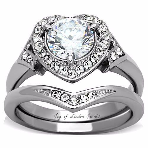 2.3CT Heart Cut Halo Russian Lab Diamond 14K White Gold Bridal Set Ring