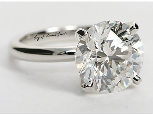 A Perfect 3.8CT Round Cut Solitaire Russian Lab Diamond Ring