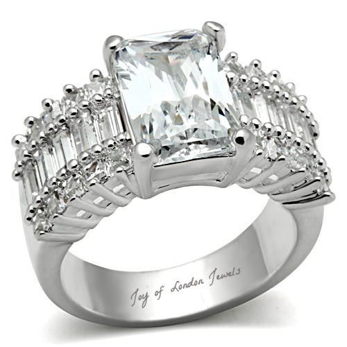 A Perfect 4.3CT Emerald Cut Russian Lab Diamond Engagement Ring