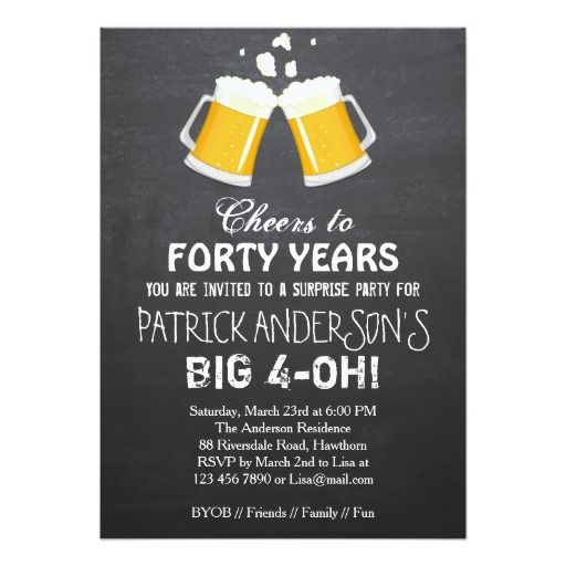 Birthday Gifts Ideas 40th Invitation Beer