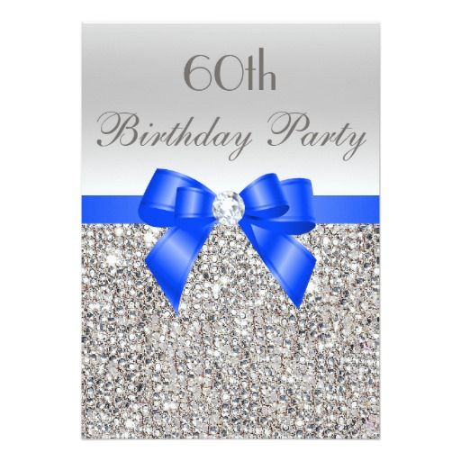 Birthday Gifts Ideas 60th Birthday Silver Sequin Royal Blue Bow