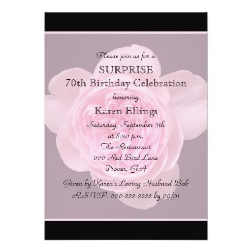 Birthday Gifts Ideas 70th Surprise Party Invitation Rose