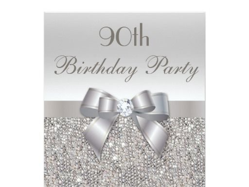 Birthday Gifts Ideas 90th Party Silver Sequins Bow Diamond 5x7 Paper Invitation Card