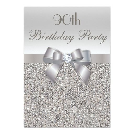 Birthday Gifts Ideas 90th Party Silver Sequins Bow