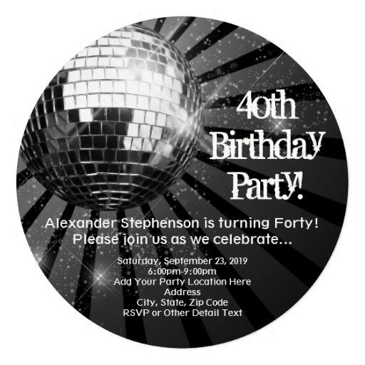 Birthday Gifts Ideas Black Circle Round Disco Ball 40th