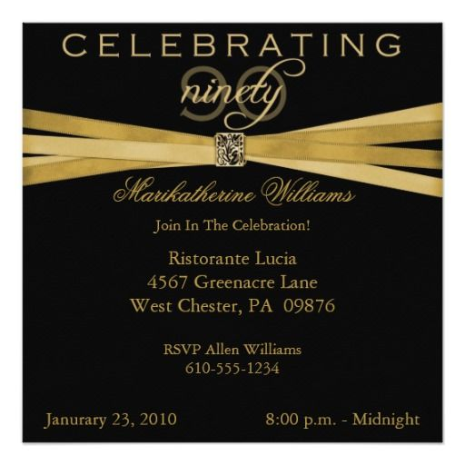 Birthday Gifts Ideas Elegant 90th Party Invitations