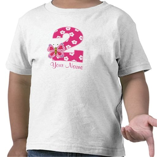 Birthday Gifts Pink Butterfly Personalized 2nd Shirt