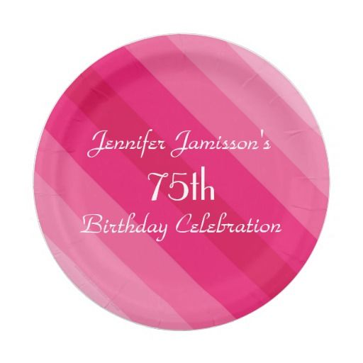 Birthday Gifts Ideas Pink Striped Paper Plates 75th