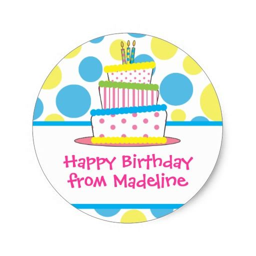 Birthday Gifts Ideas Polka Dot Cake Gift Tag Stickers