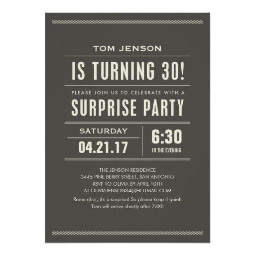 Birthday Gifts Ideas Surprise 30th Invitations