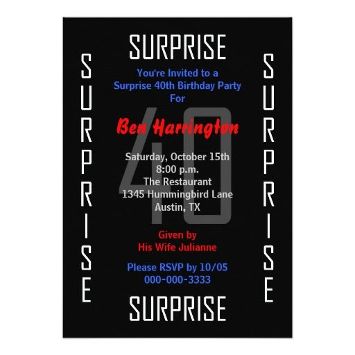 Birthday Gifts Ideas Surprise 40th Party Invitation