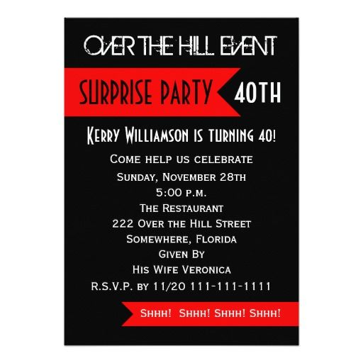 Birthday Gifts Ideas Surprise 40th Birthday Party Invitation
