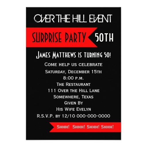 Birthday Gifts Ideas Surprise 50th Party Invitation
