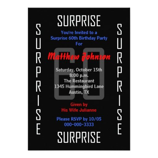 Birthday Gifts Ideas Surprise 60th Party Invitation
