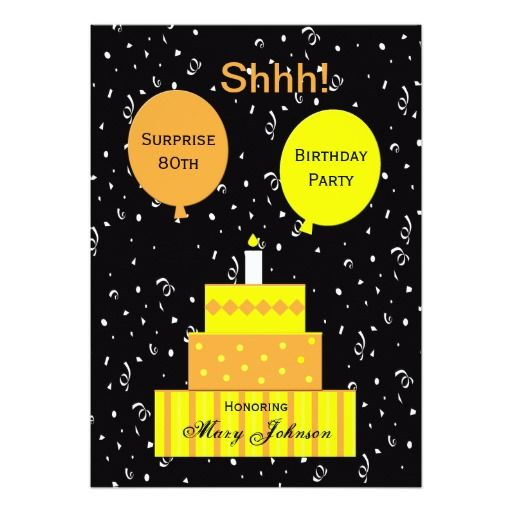 Birthday Gifts Ideas Surprise 80th Party Invitation
