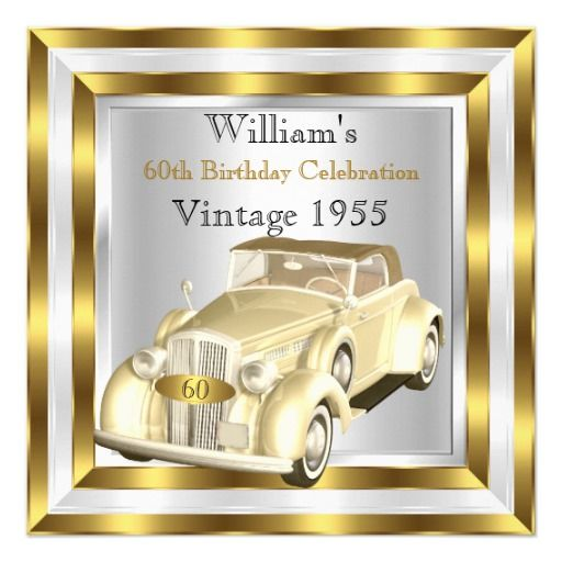 Birthday Gifts Ideas Vintage Car Mens 60th Party Gold