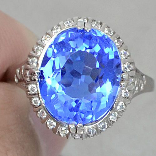 Natural Vintage 5.15CT Oval Cut Tanzanite with White Sapphire Accents 925 Sterli...