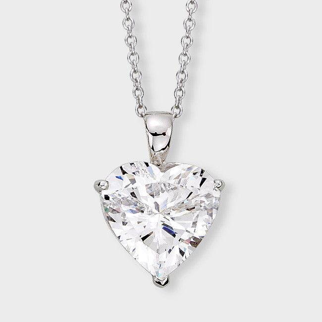 Perfect 3CT Russian Lab Diamond Heart Necklace