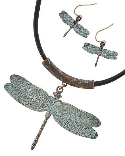 Stunning Patina Copper Dragonfly Necklace With Earrings Set