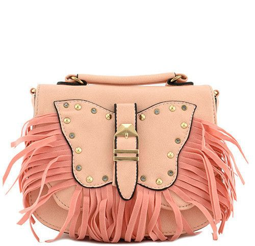 Birthday Gifts The London Peach Butterfly Fringe Messenger Handbag