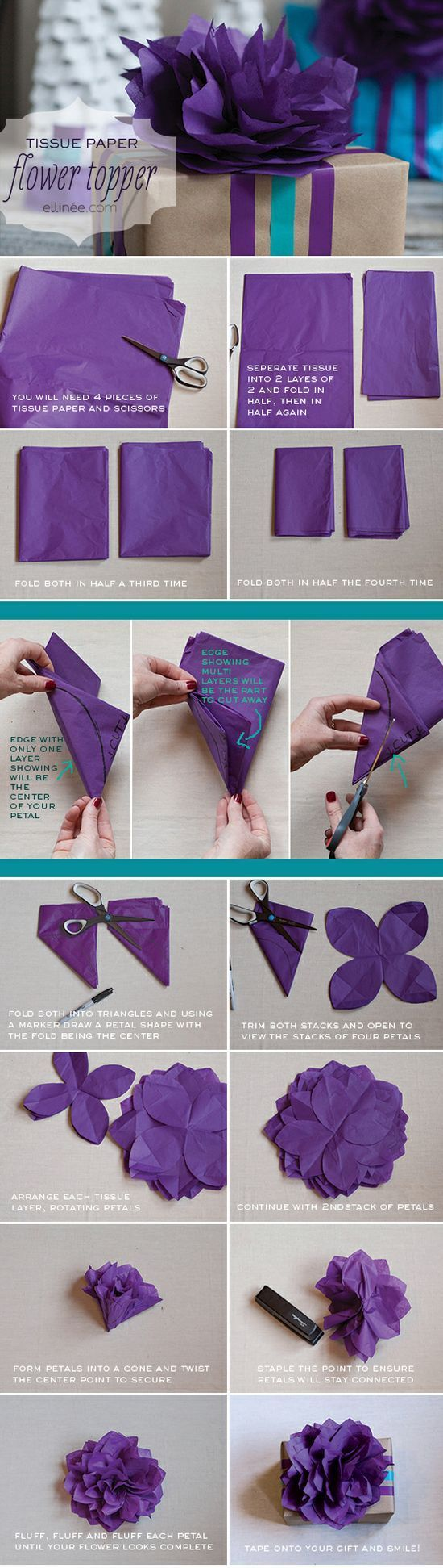 Diy Gift Wrapping Ideas Make A Pretty Tissue Paper Flower To Top