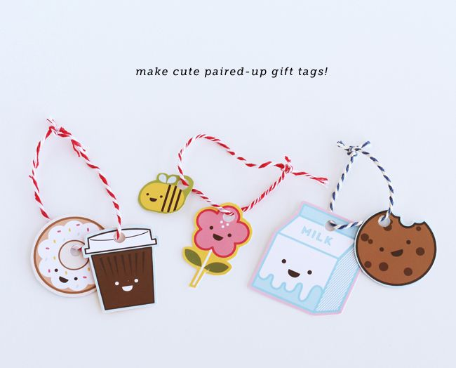 Diy gift wrapping ideas pair up gift tags coffee and donut diy gift wrapping ideas negle Image collections