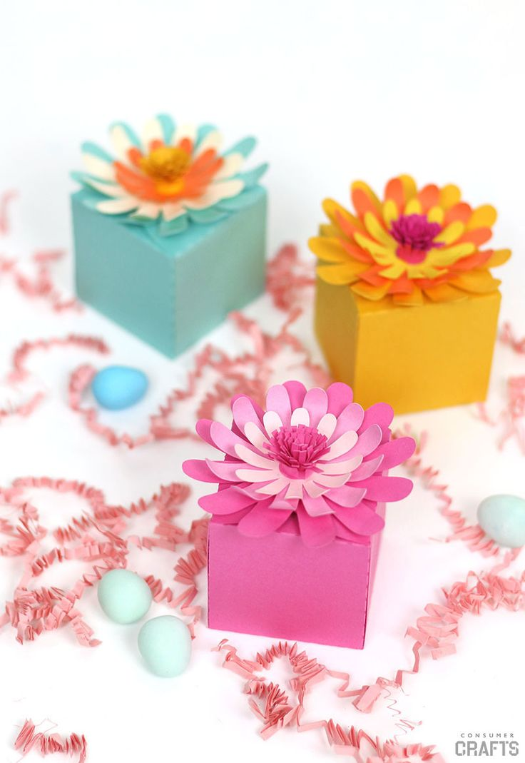 DIY Gift Wrapping Ideas : Paper Flower Boxes With Free Templates ...