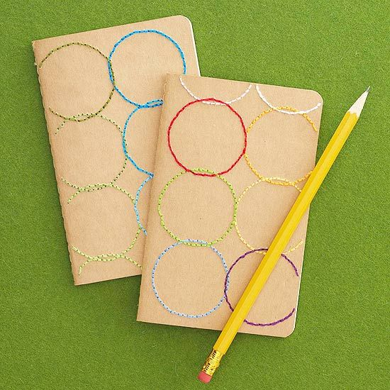 Your hostess will love this easy to make Circle-Stitched Notebook! More Christma...