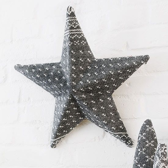 Cover a plain-Jane cardboard star (available at crafts stores) with a wool sweat...