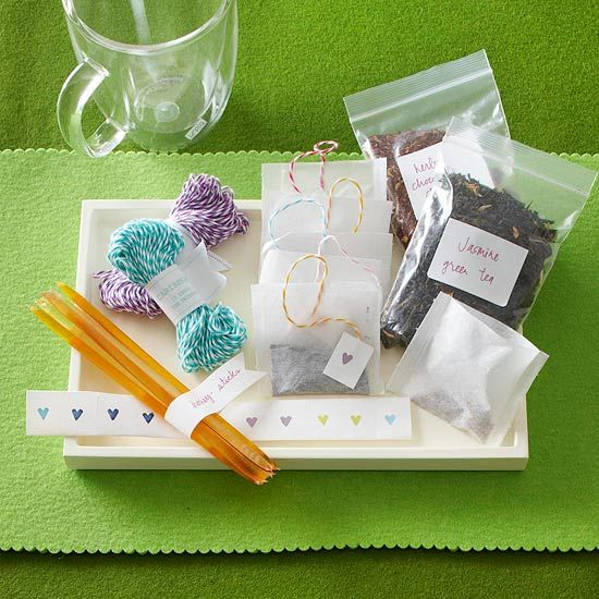 This custom tea kit makes a personal and easy gift. More handmade hostess gift p...