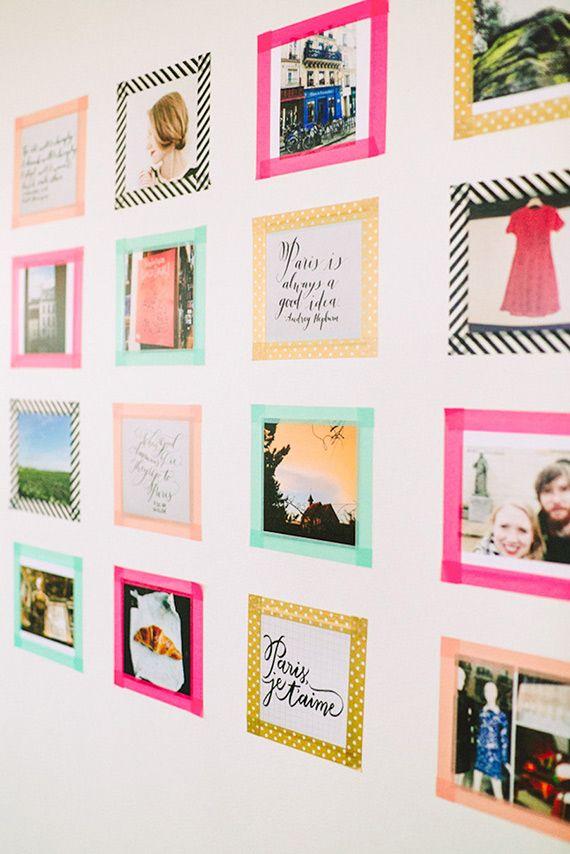 DIY Wrapping Gifts Inspiration : #DIY masking tape photo wall ...