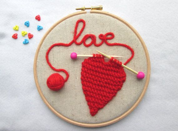 Valentines Day Gifts Embroidery Hoop Art Knitted Heart Hoop