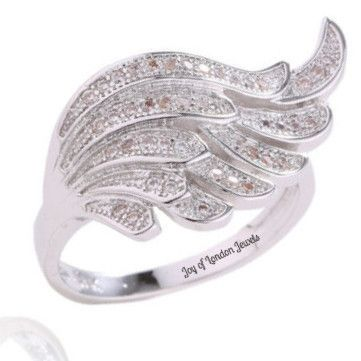 Birthday Gifts 18K White Gold And Sapphire Accents Wing Of