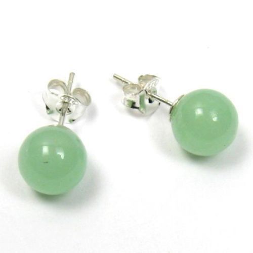 Birthday Gifts Gorgeous Lucky 10mm Light Green Jade 925 Sterling