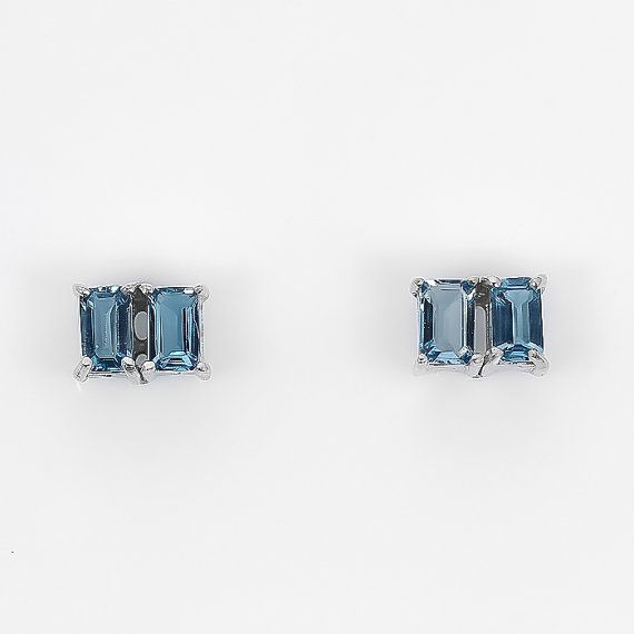 Birthday Gifts Gorgeous Vintage Natural Emerald Cut London Blue By