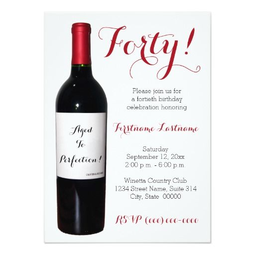 Birthday Gifts Ideas 40th Wine Bottle Invitations